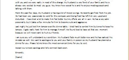 Apology Letter on Behalf of Partner