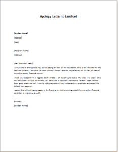 Apology Letter to Landlord