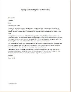 Apology Letter to Neighbor for Mistreating
