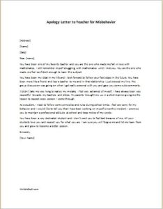 Apology Letter to Teacher for Misbehavior writeletter2com