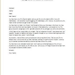 Apology Letter to Teacher for Misbehavior