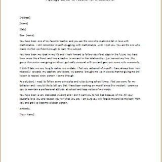 Apology Letter to Teacher for Misbehavior