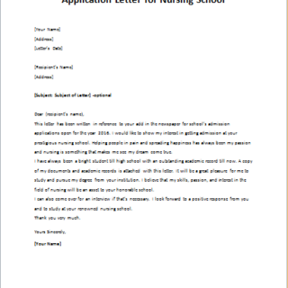 Application Letter for Nursing School