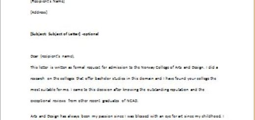 College Enrollment Application Letter
