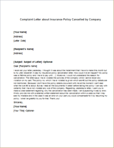 Complaint Letter about Insurance Policy Cancelled by Company