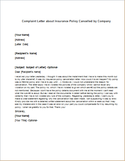 Complaint letter about insurance policy cancelled by company complaint letter about insurance policy cancelled by company writeletter2 altavistaventures Choice Image