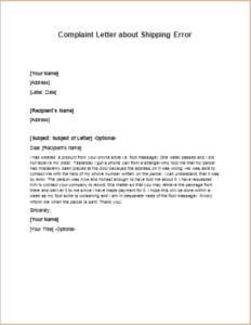 Complaint Letter about Shipping Error