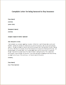 Complaint Letter for being harassed to Buy Insurance ...