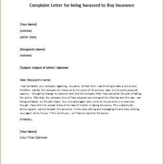 Complaint Letter for being harassed to Buy Insurance