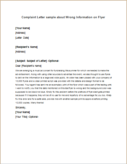 Complaint Letter about Wrong Information on Flyer