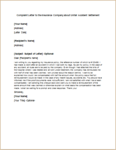 Complaint Letter to the Insurance Company about Unfair Accident Settlement