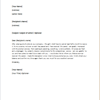 Compliment Letter for Speedy Delivery of Products