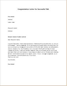 Congratulation Letter for Successful Talk