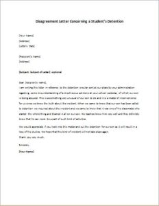 Disagreement Letter Concerning a Student's Detention