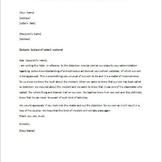 Disagreement Letter Concerning a Student's Detention