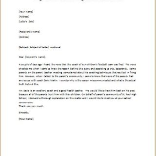 Disagreement Letter Concerning the Dismissal of a Coach