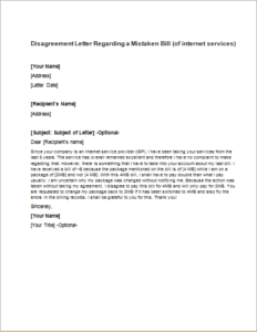 Disagreement Letter Regarding a Mistaken Bill