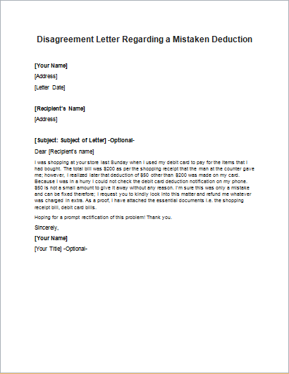 Disagreement Letter Regarding a Mistaken Deduction