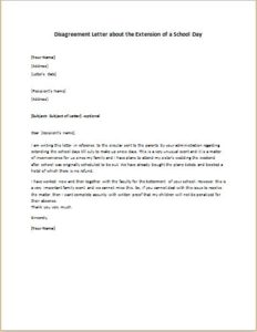 Disagreement Letter about the Extension of a School Day
