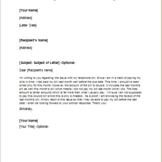 Disagreement Letter for Double Billing