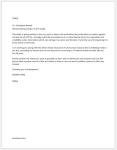 Disagreement letter to false accusation