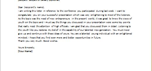Interesting Presentation Compliment Letter to Speaker