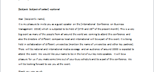Invitation Letter for Speech to Someone