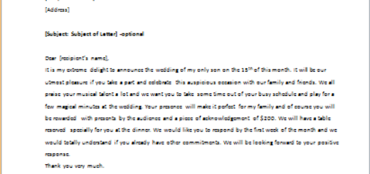Invitation Letter to Play Cello at Wedding Reception