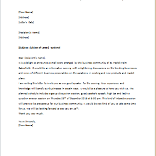 Business Community Speaker Invitation Letter writeletter2com