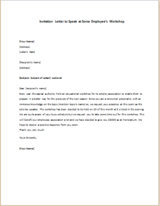 Invitation Letter to Speak at Some Employee's Workshop