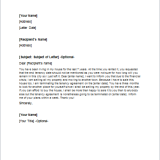 Landlord Termination Letter to the Tenant