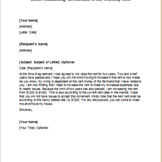 Letter Announcing an Increase in the Monthly Rent