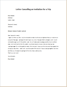 Letter Cancelling an Invitation for a Trip