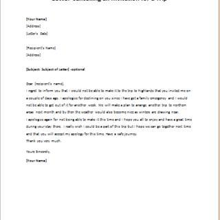 Cancellation letters writeletter2 letter cancelling an invitation for a trip altavistaventures Images