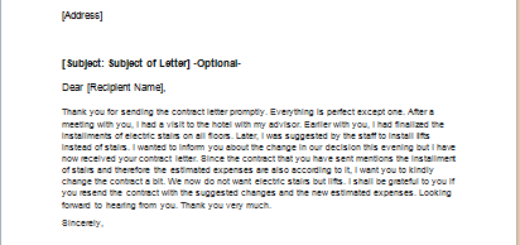 Letter Requesting a Change in a Contract or Agreement