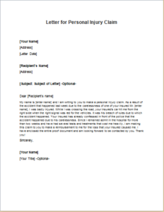 Letter for Personal Injury Claim