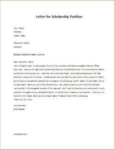 Letter for Scholarship Position