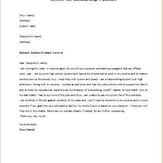 Letter for Scholarship Position