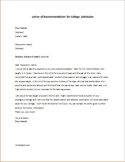 Letter Of Recommendation For College Admission Writeletter2 Com