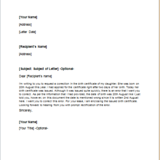 Letter to Ask Correction of a Document Error