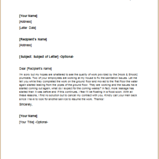 Letter to Cancel Service Contract Due to Poor Workmanship