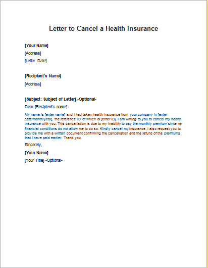 Letter To Cancel Service from writeletter2.com