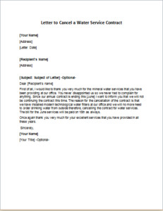 Letter to Cancel a Water Service Contract
