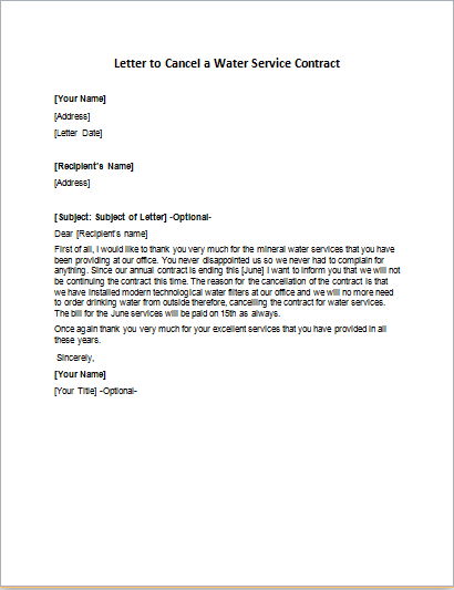 Letter To Cancel A Water Service Contract Writeletter2 Com