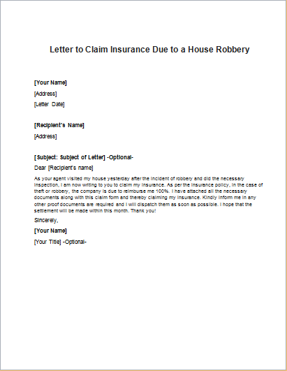 Letter to Claim Insurance Due to a House Robbery