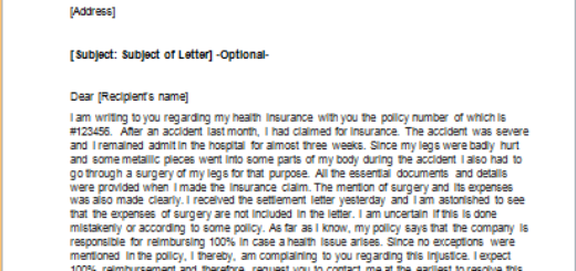Letter to Complain about a Surgery not being covered by Insurance