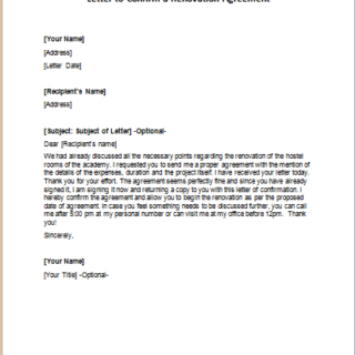 Renovation Agreement Letters Writeletter2 Com