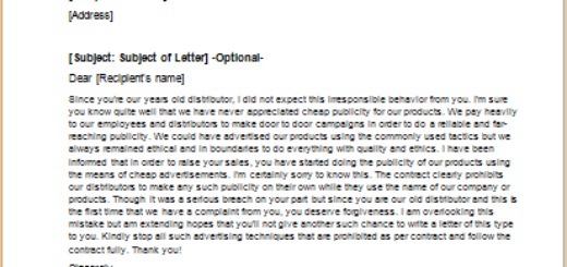 Letter to Criticize a Distributor for not complying with Terms
