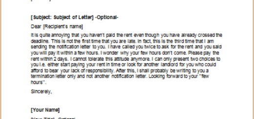 Letter to Criticize a Tenant for not Paying Rent