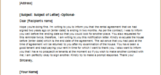 Letter to Notify End of Rental Agreement